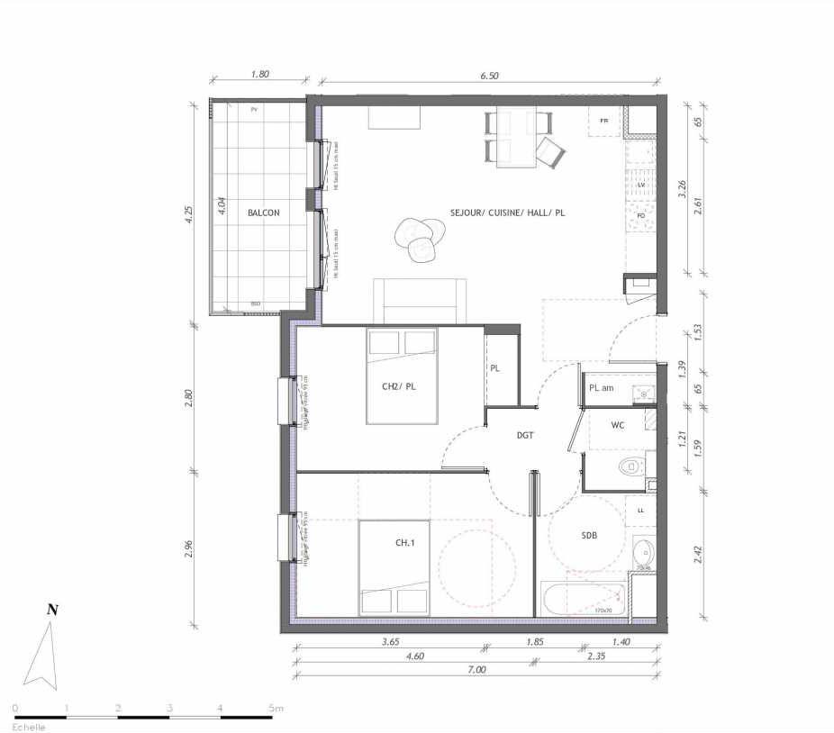 Plan 1143, appartement neuf type T3 au 4ème étage, orienté Ouest faisant 65m² du programme neuf REVELATION BAT 01 à Clermont-Ferrand.