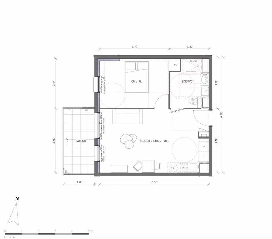 Plan 1144, appartement neuf type T2 au 4ème étage, orienté Ouest faisant 42m² du programme neuf REVELATION BAT 01 à Clermont-Ferrand.