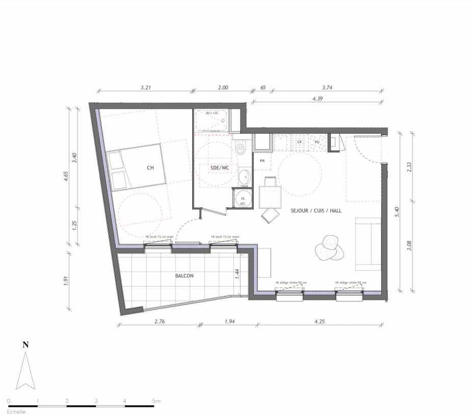 Plan 1146, appartement neuf type T2 au 4ème étage, orienté Sud faisant 45m² du programme neuf REVELATION BAT 01 à Clermont-Ferrand.
