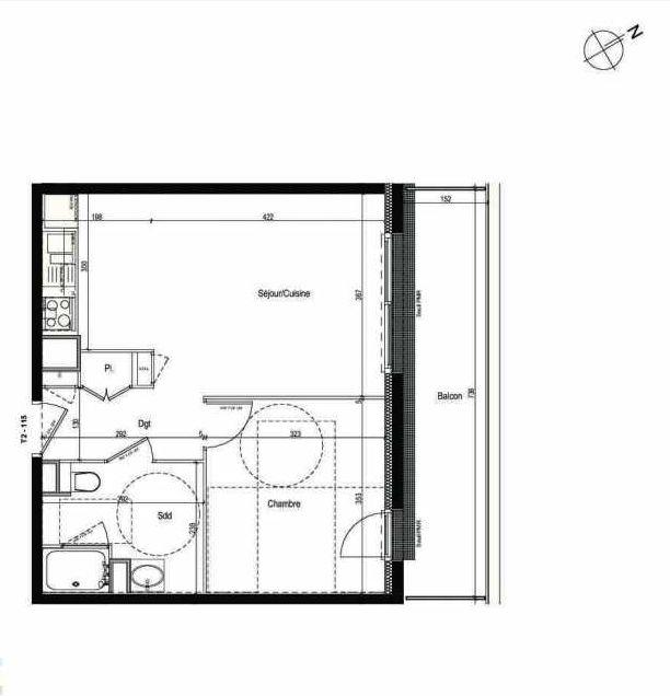 Plan 115, appartement neuf type T2 au 1er étage, faisant 43m² du programme neuf Les Boréales à Rouen.