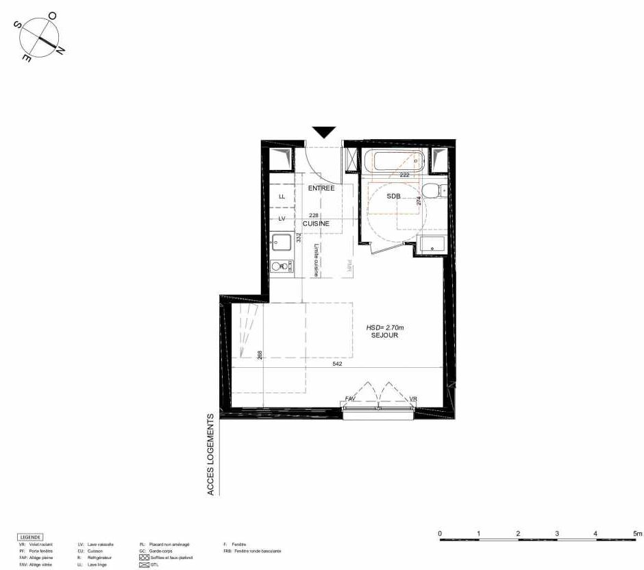 Plan 115, appartement neuf type T1 au 1er étage, orienté Nord faisant 31m² du programme neuf LES JARDINS BALZAC BAT 3 à Argenteuil.