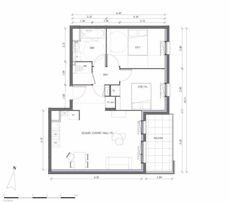 Plan 1152, appartement neuf type T3 au 5ème étage, orienté Est faisant 61m² du programme neuf REVELATION BAT 01 à Clermont-Ferrand.