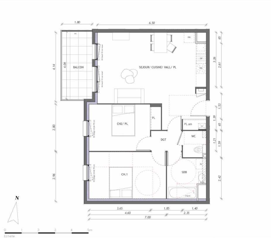 Plan 1153, appartement neuf type T3 au 5ème étage, orienté Ouest faisant 65m² du programme neuf REVELATION BAT 01 à Clermont-Ferrand.