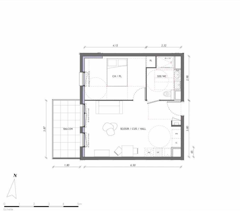 Plan 1154, appartement neuf type T2 au 5ème étage, orienté Ouest faisant 42m² du programme neuf REVELATION BAT 01 à Clermont-Ferrand.