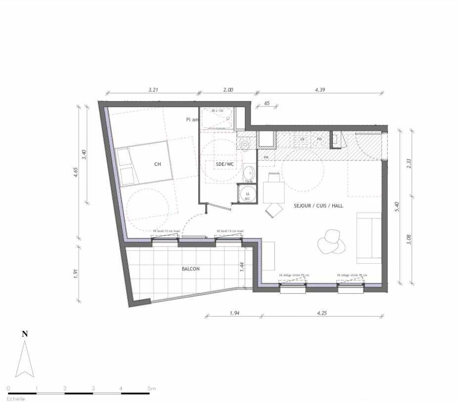 Plan 1156, appartement neuf type T2 au 5ème étage, orienté Sud faisant 45m² du programme neuf REVELATION BAT 01 à Clermont-Ferrand.