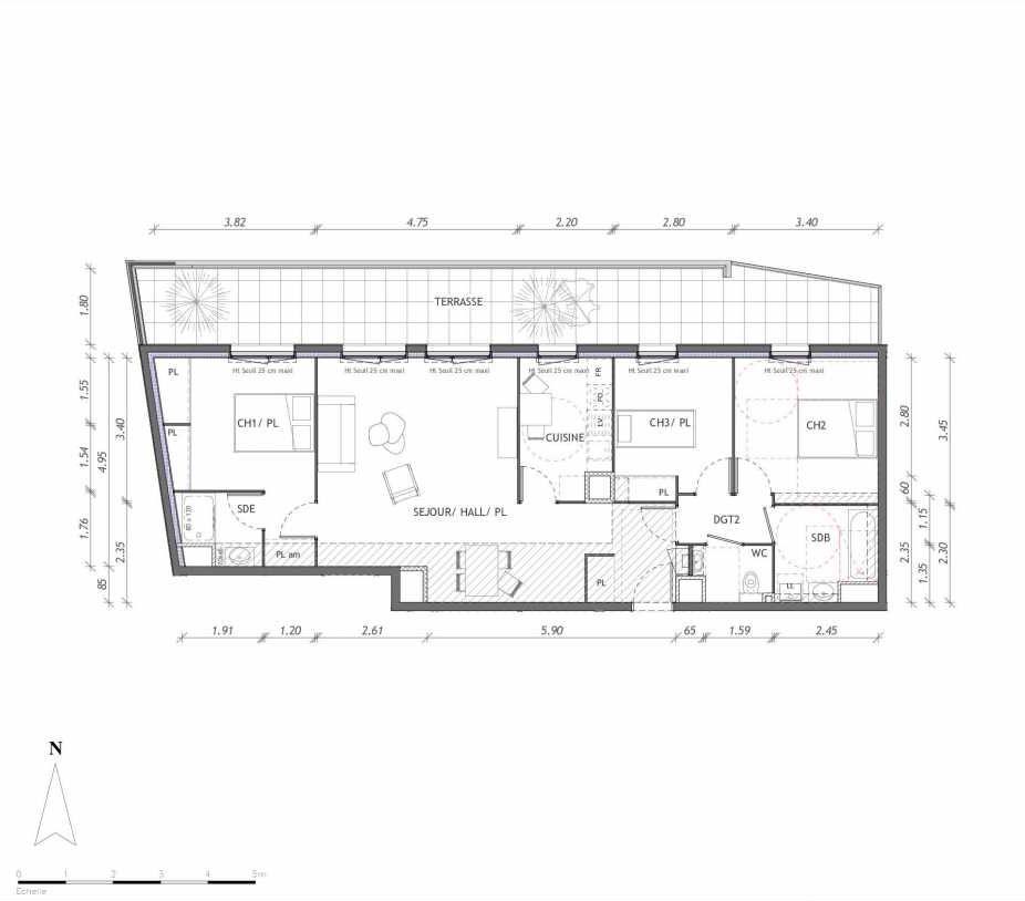 Plan 1157, appartement neuf type T4 au 5ème étage, orienté Nord faisant 88m² du programme neuf REVELATION BAT 01 à Clermont-Ferrand.