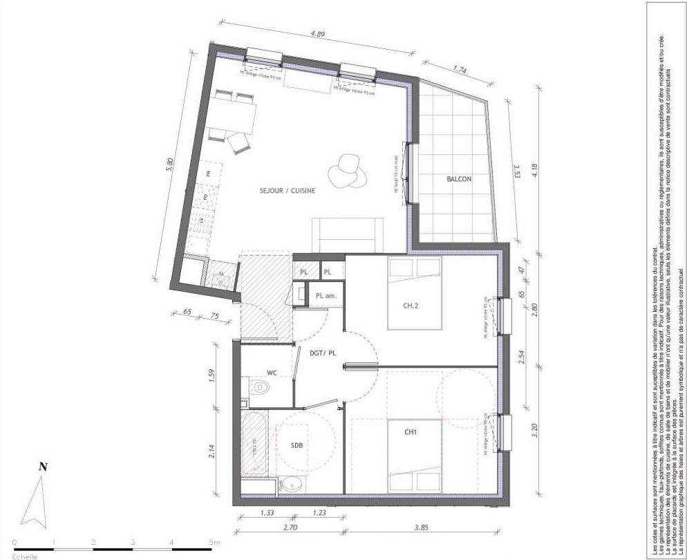 Plan 1158, appartement neuf type T3 au 5ème étage, orienté Est faisant 63m² du programme neuf REVELATION BAT 01 à Clermont-Ferrand.