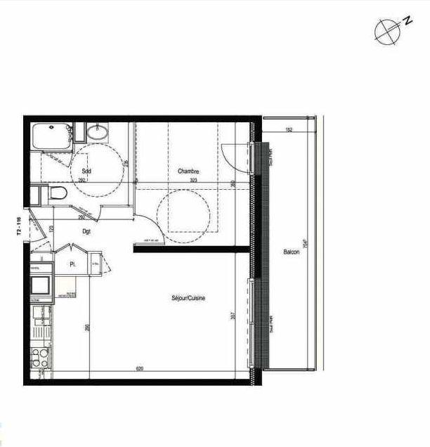 Plan 116, appartement neuf type T2 au 1er étage, faisant 42m² du programme neuf Les Boréales à Rouen.