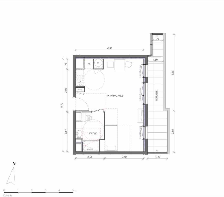 Plan 1161, appartement neuf type T1 au 6ème étage, orienté Est faisant 31m² du programme neuf REVELATION BAT 01 à Clermont-Ferrand.
