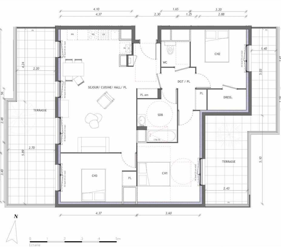 Plan 1162, appartement neuf type T4 au 6ème étage, orienté Sud faisant 86m² du programme neuf REVELATION BAT 01 à Clermont-Ferrand.