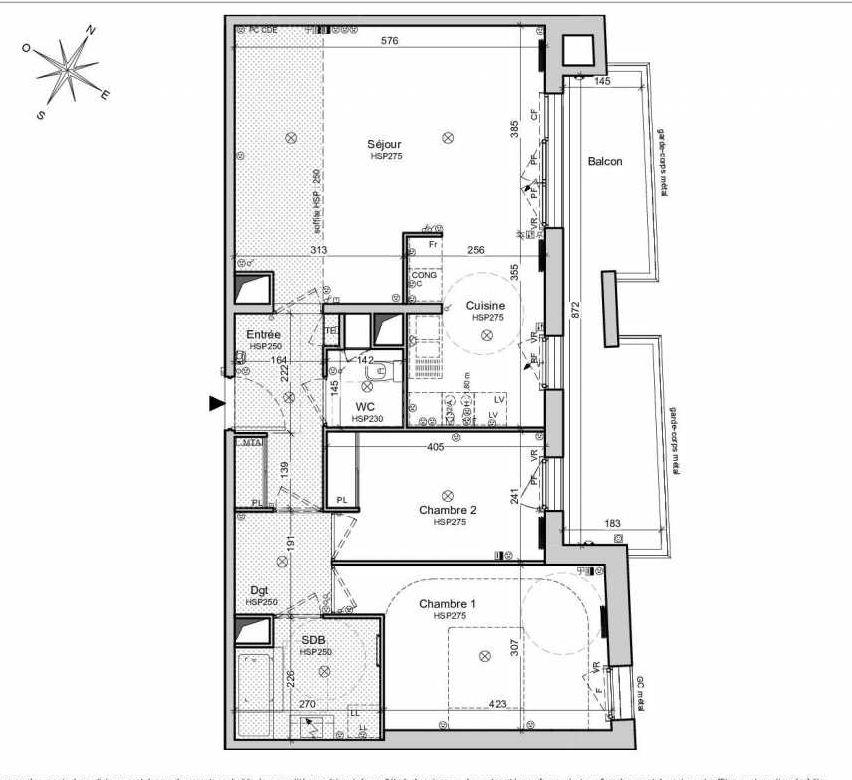 Plan 1163, appartement neuf type T3 au 6ème étage, orienté Nord faisant 76m² du programme neuf Belvedere - Bordoriva à Bordeaux.