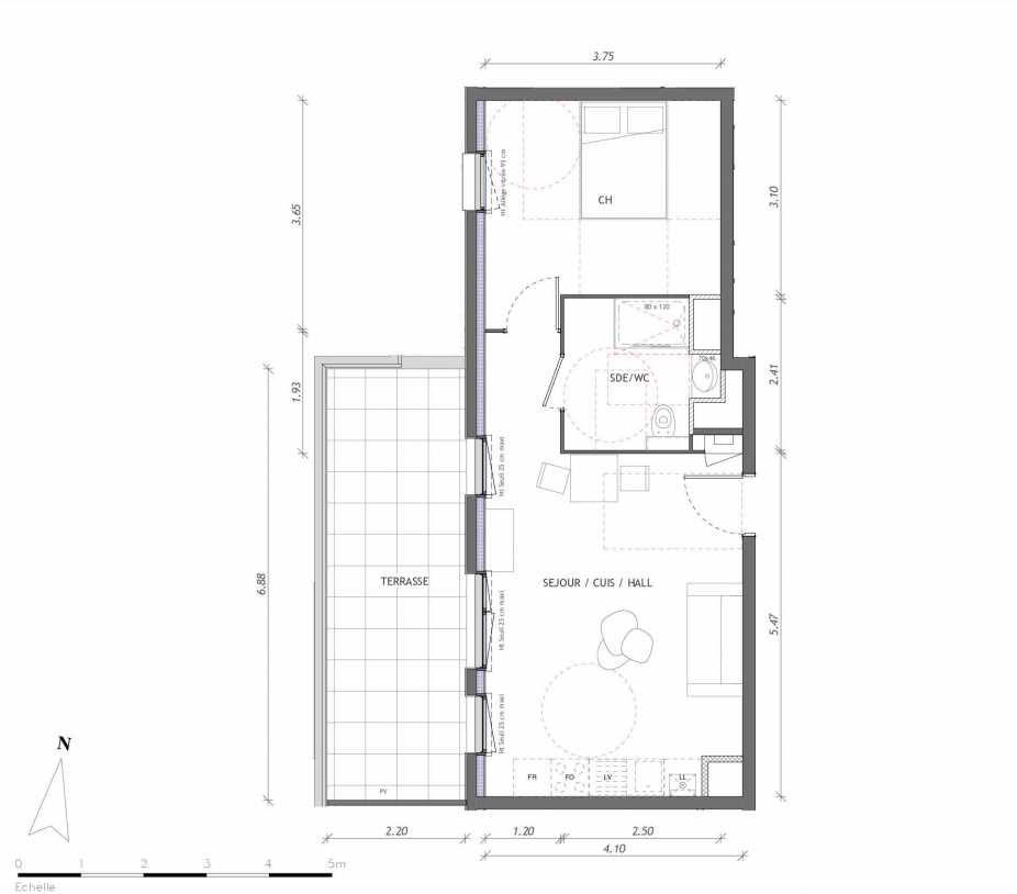 Plan 1163, appartement neuf type T2 au 6ème étage, orienté Ouest faisant 42m² du programme neuf REVELATION BAT 01 à Clermont-Ferrand.