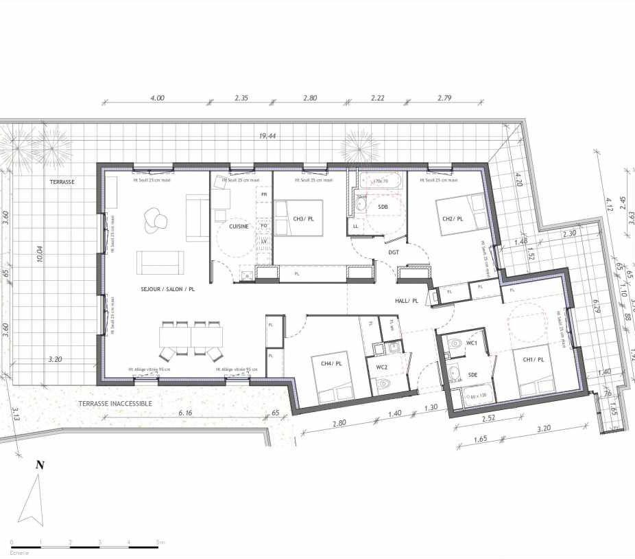 Plan 1164, appartement neuf type T5 au 6ème étage, orienté Sud faisant 130m² du programme neuf REVELATION BAT 01 à Clermont-Ferrand.