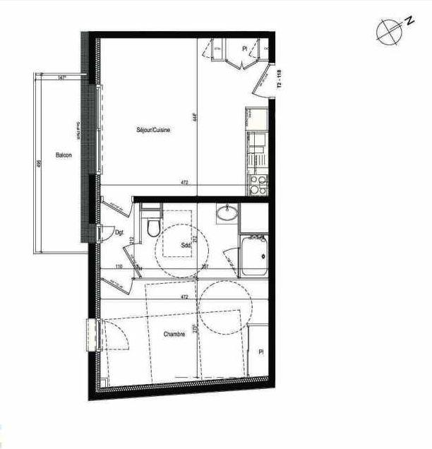 Plan 118, appartement neuf type T2 au 1er étage, faisant 43m² du programme neuf Les Boréales à Rouen.