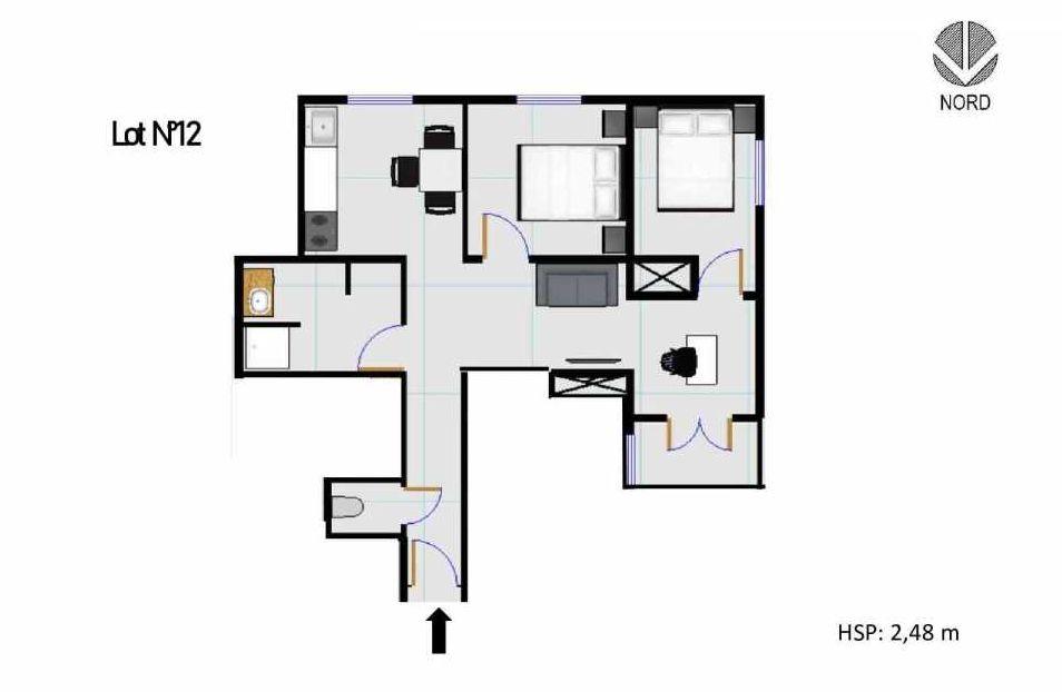Plan 12, appartement neuf, faisant 50m² du programme neuf 11 Rue Montmajour à Marseille.