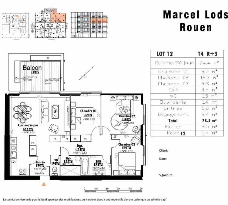Plan 12, appartement neuf type T4 au 3ème étage, faisant 79m² du programme neuf 15 rue Jean-Philippe Rameau à Rouen.