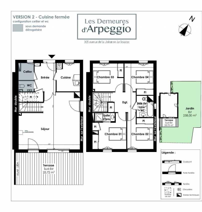 Plan 12, appartement neuf type T5 au Rez de chaussée, orienté Sud faisant 112m² du programme neuf LES DEMEURES D'ARPEGGIO à Le Bouscat.