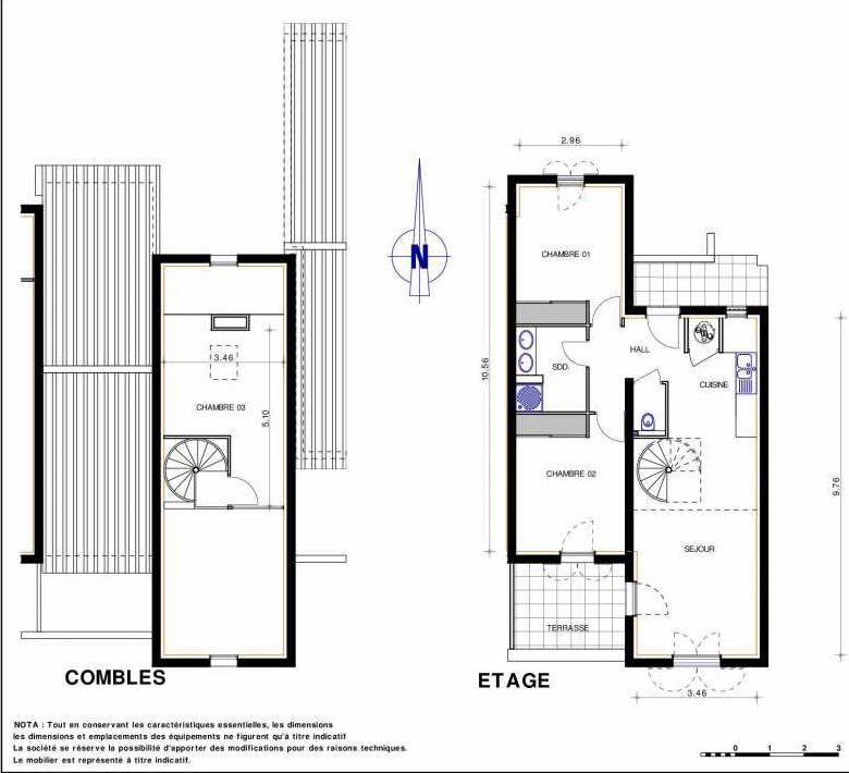 Plan 12, appartement neuf type T4 au 1er étage, orienté Sud faisant 82m² du programme neuf LES JARDINS D'ADELAIDE à Grimaud.