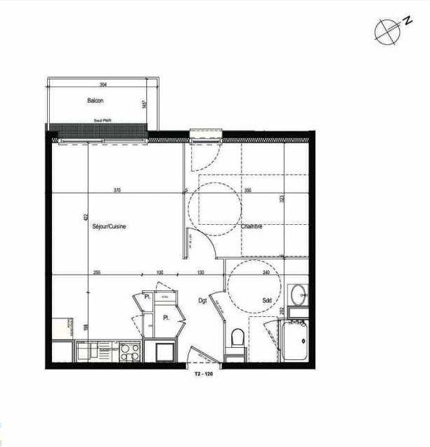 Plan 120, appartement neuf type T2 au 1er étage, faisant 42m² du programme neuf Les Boréales à Rouen.
