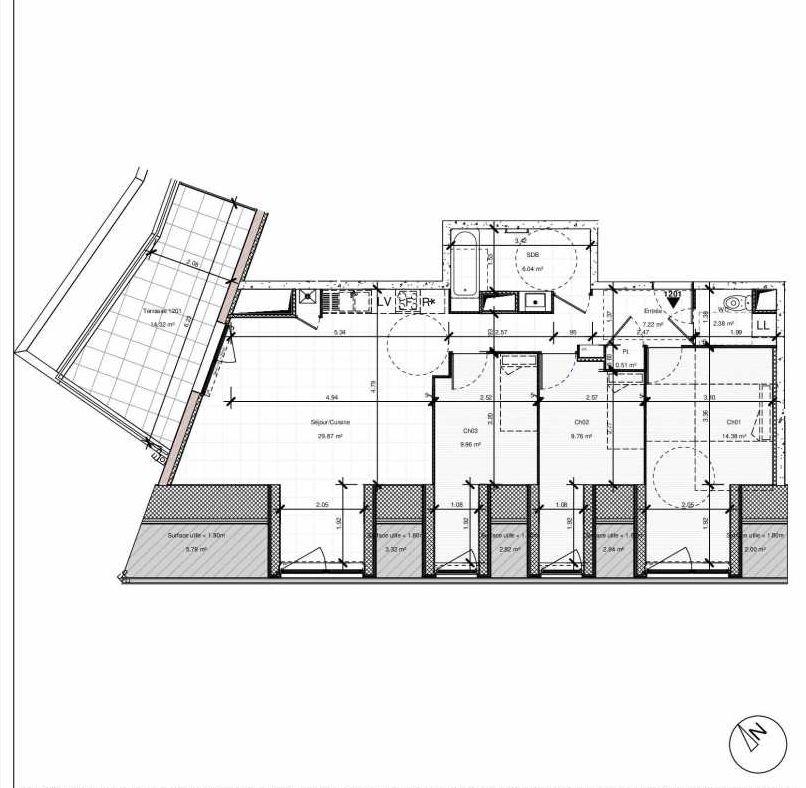 Plan 1201, appartement neuf type T4 au 2ème étage, orienté Nord faisant 80m² du programme neuf 1PULSION LOGEMENTS ABORDABLES à Dijon.