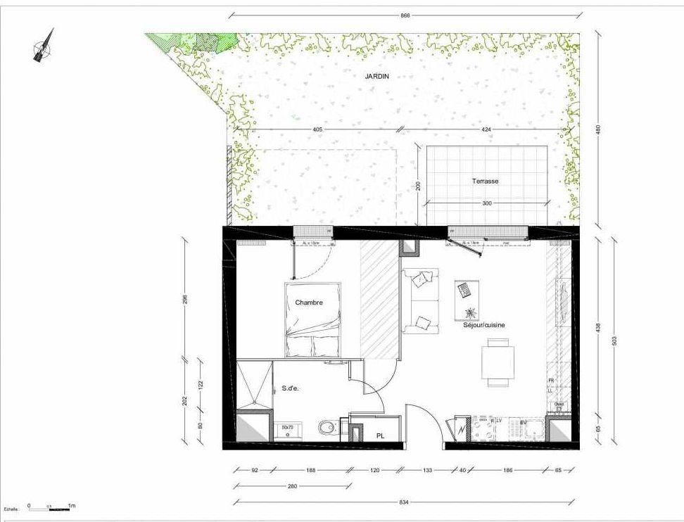 Plan 1201, appartement neuf type T2 au Rez de chaussée, orienté Nord faisant 40m² du programme neuf INTIMISTE BATIMENT 2 à Clermont-Ferrand.