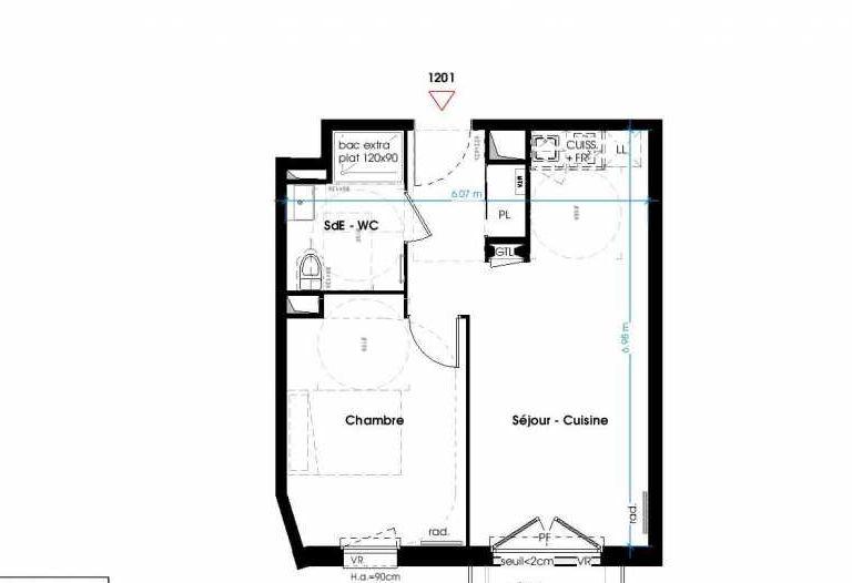 Plan 1201, appartement neuf type T2 au 3ème étage, orienté Est faisant 40m² du programme neuf LES JARDINS D'ANAIS BAT 1 à Lormont.