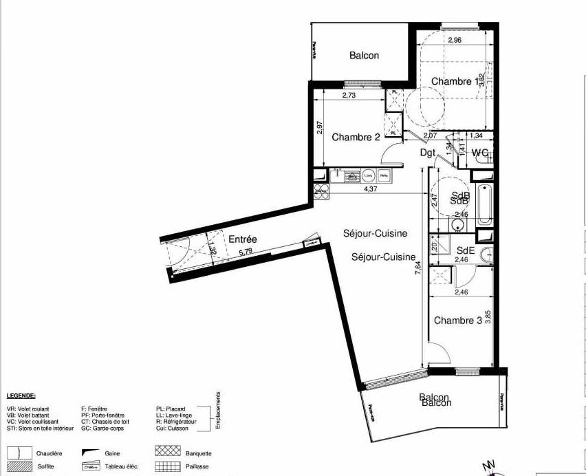 Plan 1201, appartement neuf type T4 au 2ème étage, orienté Sud faisant 80m² du programme neuf LES JARDINS D'ARGELIES BÂTIMENT 1 ET 2 à Juvisy-sur-Orge.