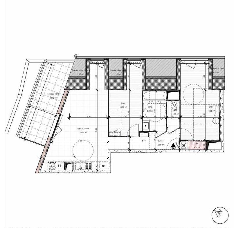 Plan 1202, appartement neuf type T3 au 2ème étage, orienté Nord faisant 62m² du programme neuf 1PULSION LOGEMENTS ABORDABLES à Dijon.