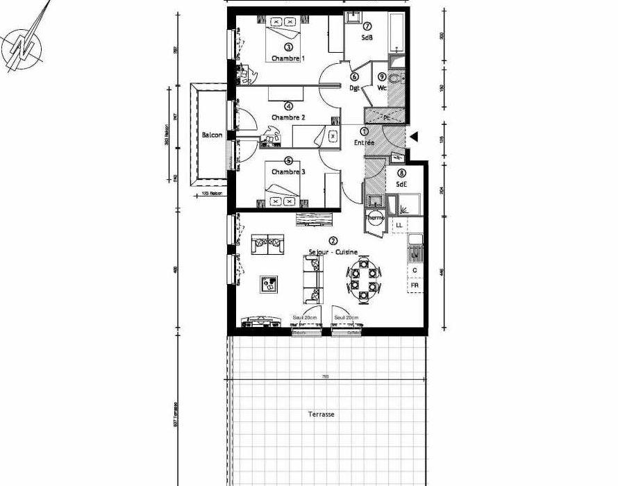 Plan 1202, appartement neuf type T4 au 2ème étage, orienté Sud faisant 88m² du programme neuf AQUARELLE A MONTGERON 33 LOGEMENTS/BÂTIMENT 1 à Montgeron.