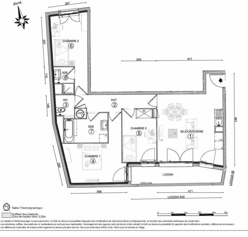 Plan 1202, appartement neuf type T4 au 2ème étage, orienté Sud faisant 76m² du programme neuf LE CLOS DU VAL A OSNY 55 LOTS à Osny.