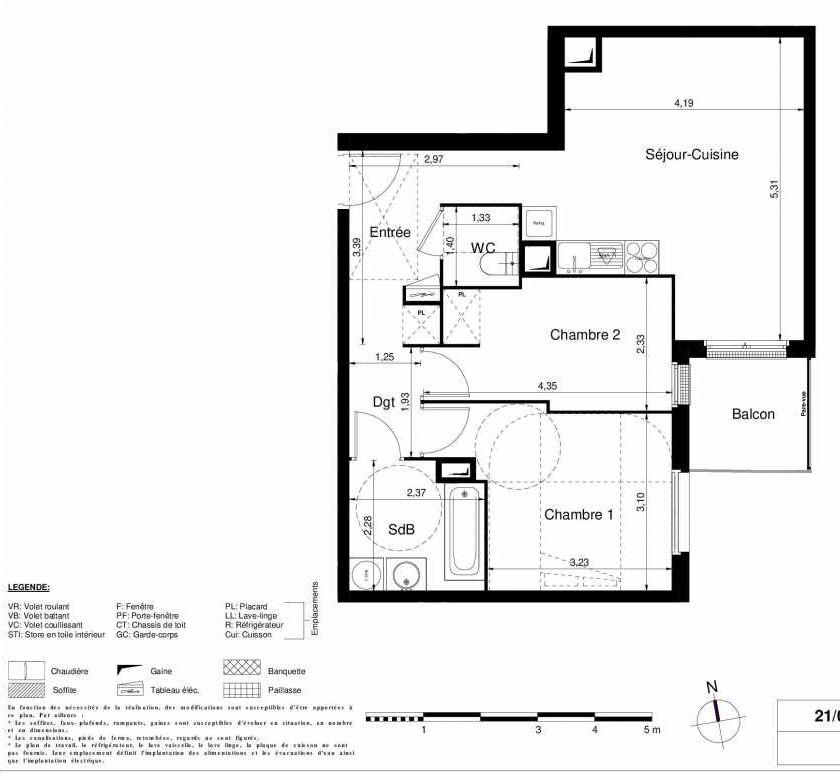 Plan 1202, appartement neuf type T3 au 2ème étage, orienté Sud faisant 57m² du programme neuf LES JARDINS D'ARGELIES BÂTIMENT 1 ET 2 à Juvisy-sur-Orge.