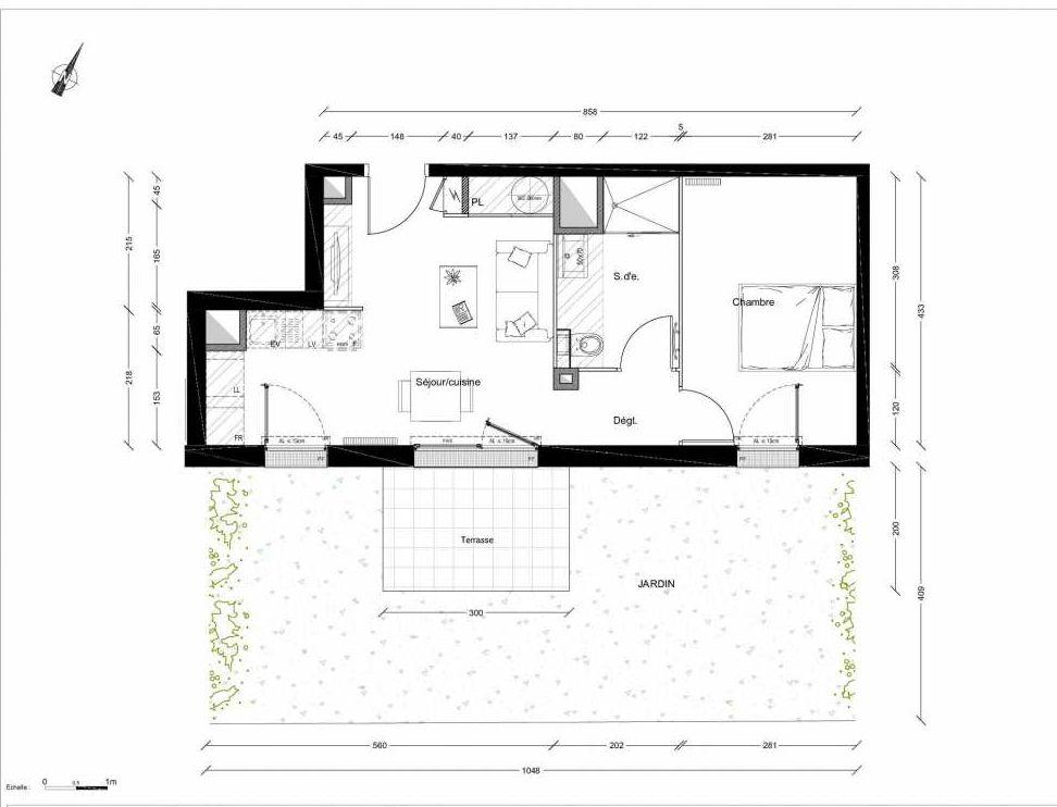 Plan 1203, appartement neuf type T2 au Rez de chaussée, orienté Sud faisant 39m² du programme neuf INTIMISTE BATIMENT 2 à Clermont-Ferrand.