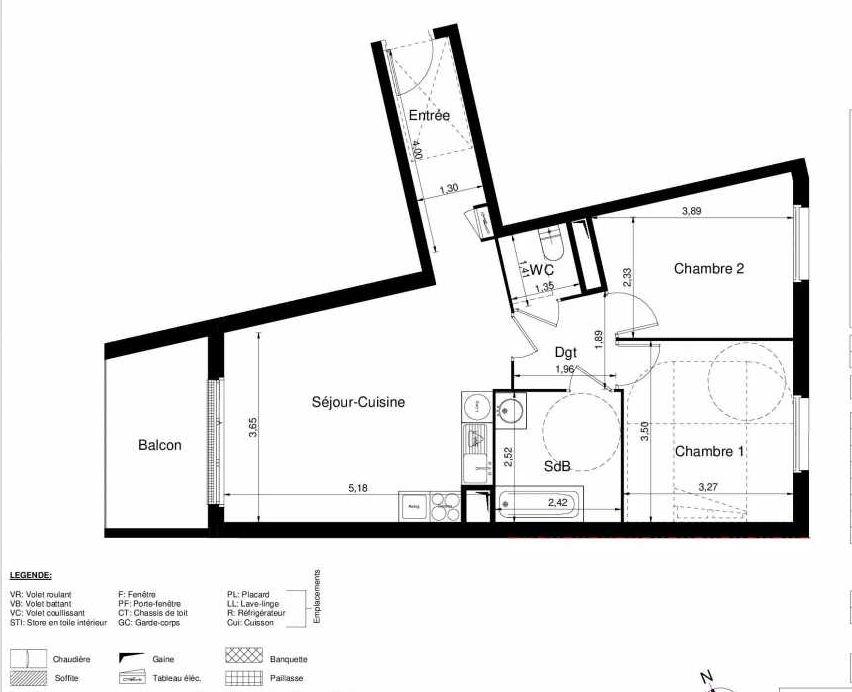 Plan 1203, appartement neuf type T3 au 2ème étage, orienté Ouest faisant 61m² du programme neuf LES JARDINS D'ARGELIES BÂTIMENT 1 ET 2 à Juvisy-sur-Orge.
