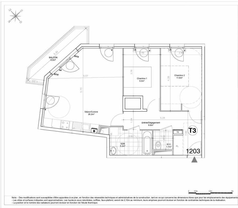 Plan 1203, appartement neuf type T3 au 2ème étage, orienté Sud faisant 64m² du programme neuf LES JARDINS D'AUNAIS ACCESSION à Aulnay-sous-Bois.