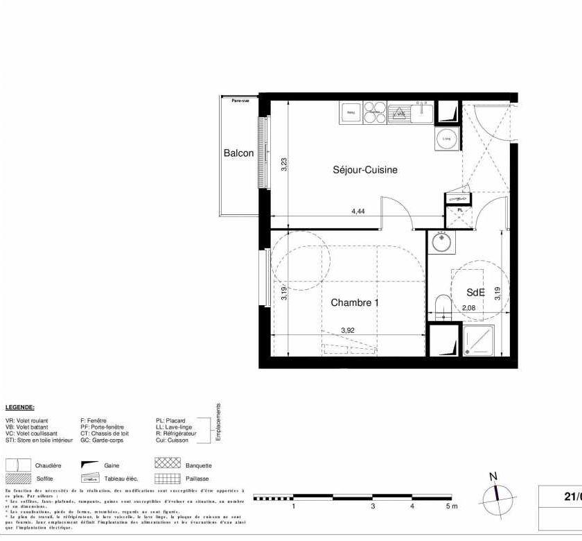 Plan 1204, appartement neuf type T2 au 2ème étage, orienté Ouest faisant 37m² du programme neuf LES JARDINS D'ARGELIES BÂTIMENT 1 ET 2 à Juvisy-sur-Orge.