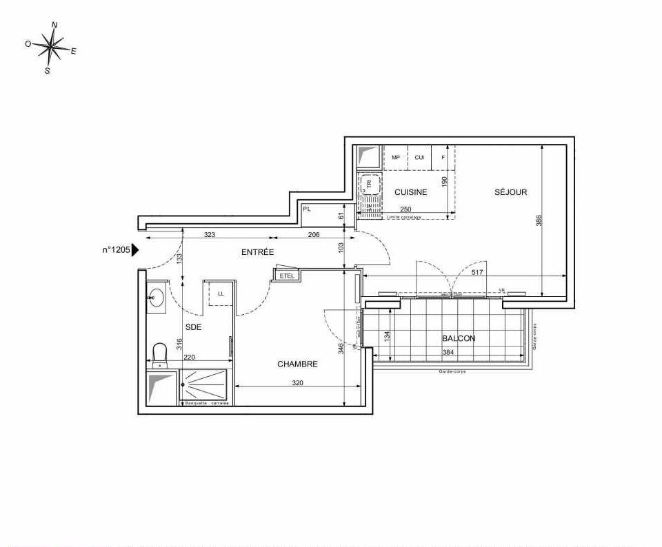 Plan 1205, appartement neuf type T2 au 2ème étage, orienté Sud faisant 44m² du programme neuf 18 RUE CHARLES MARTIGNY à Maisons-Alfort.