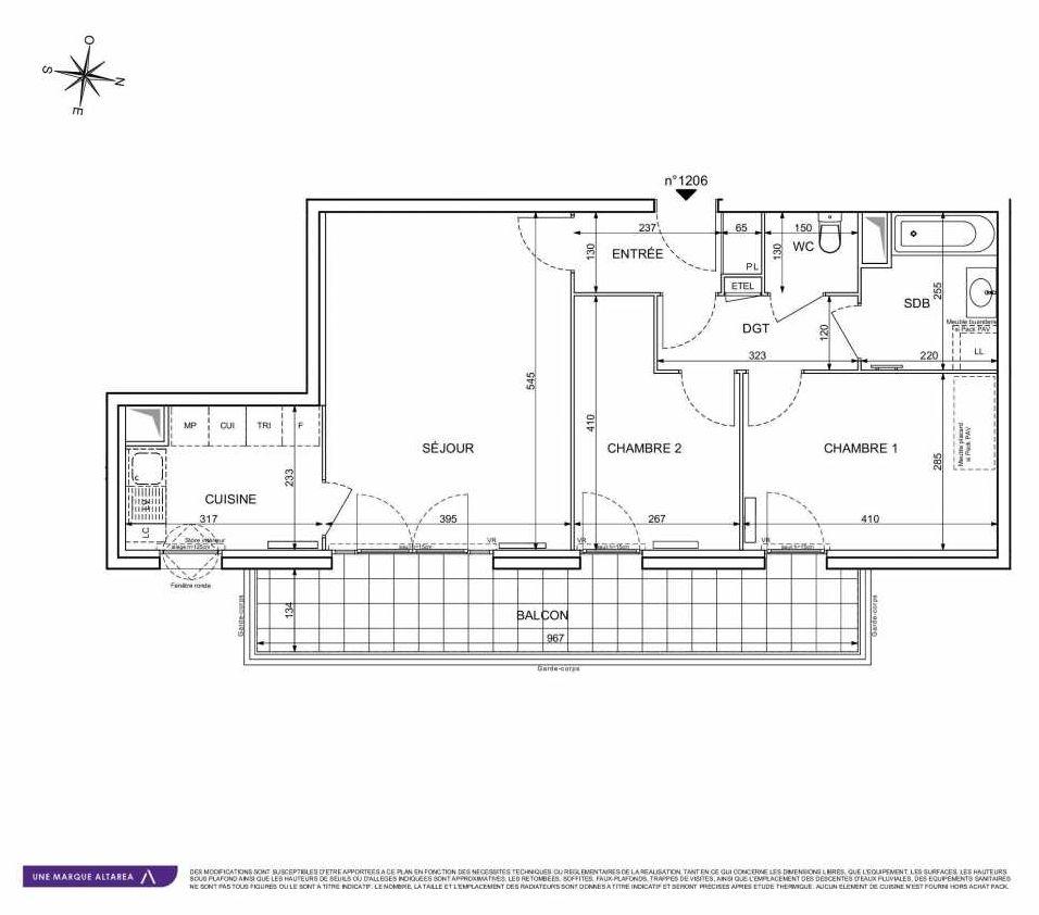 Plan 1206, appartement neuf type T3 au 2ème étage, orienté Est faisant 64m² du programme neuf 18 RUE CHARLES MARTIGNY à Maisons-Alfort.