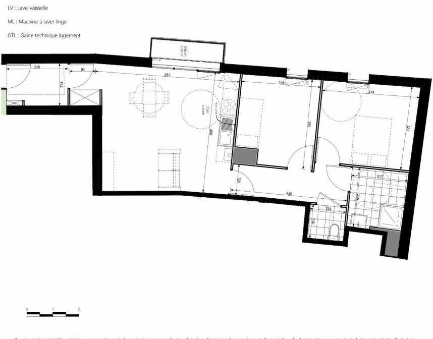 Plan 1206, appartement neuf type T3 au 2ème étage, orienté Sud faisant 64m² du programme neuf COEURVILLE BAT A à Amiens.