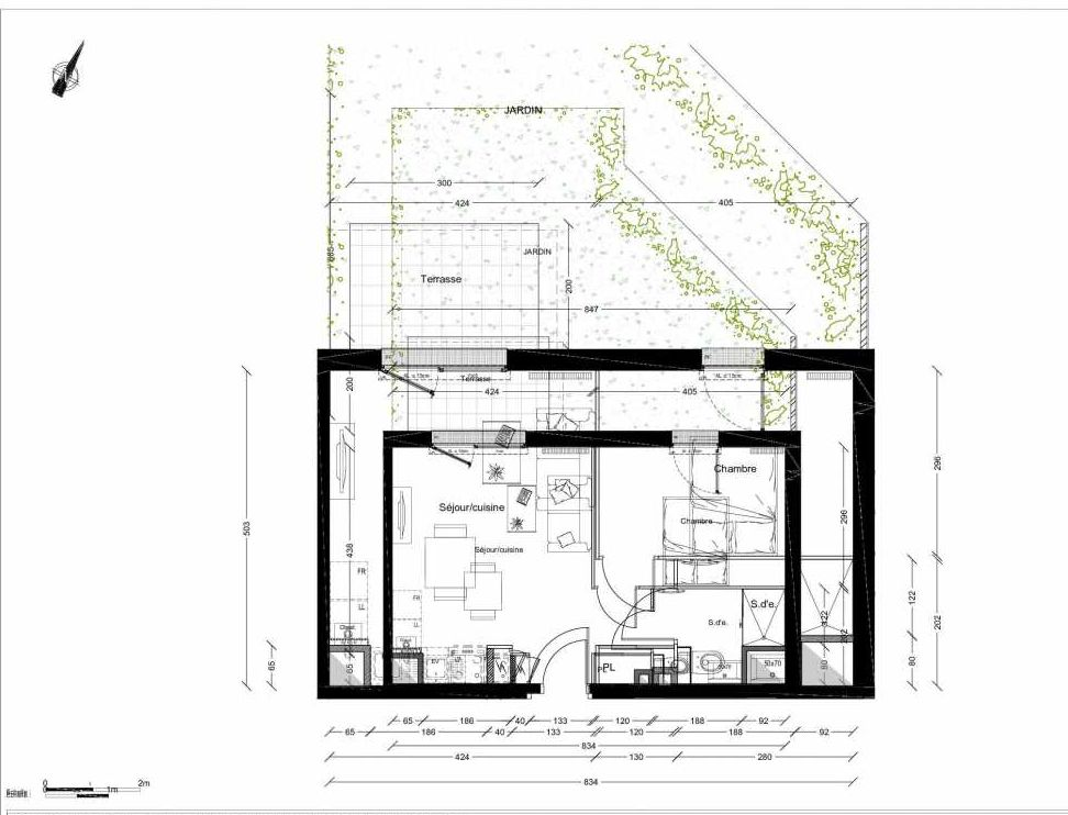 Plan 1206, appartement neuf type T2 au Rez de chaussée, orienté Nord faisant 40m² du programme neuf INTIMISTE BATIMENT 2 à Clermont-Ferrand.