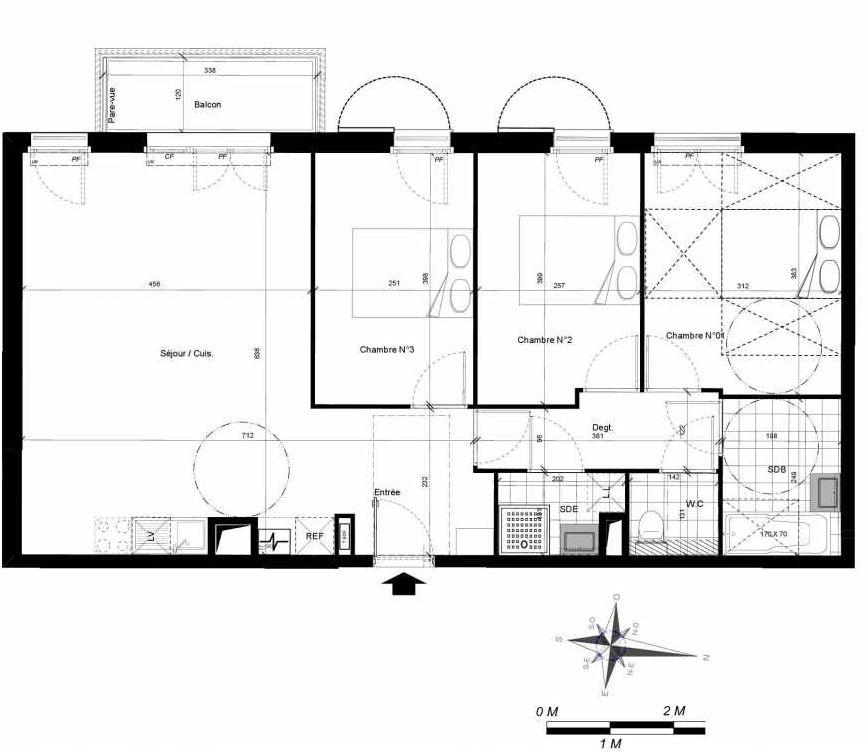Plan 1206, appartement neuf type T4 au 2ème étage, orienté Ouest faisant 80m² du programme neuf LES CLAIRIERES PLAISIR à Plaisir.