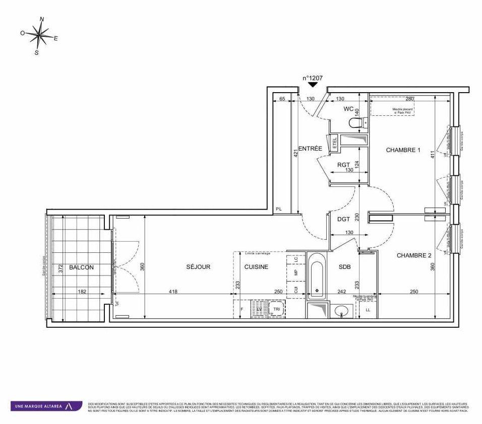 Plan 1207, appartement neuf type T3 au 2ème étage, orienté Sud faisant 65m² du programme neuf 18 RUE CHARLES MARTIGNY à Maisons-Alfort.