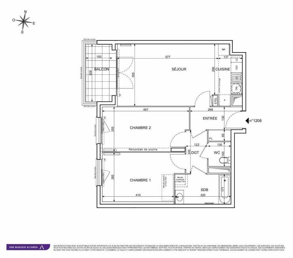 Plan 1208, appartement neuf type T3 au 2ème étage, orienté Sud faisant 64m² du programme neuf 18 RUE CHARLES MARTIGNY à Maisons-Alfort.