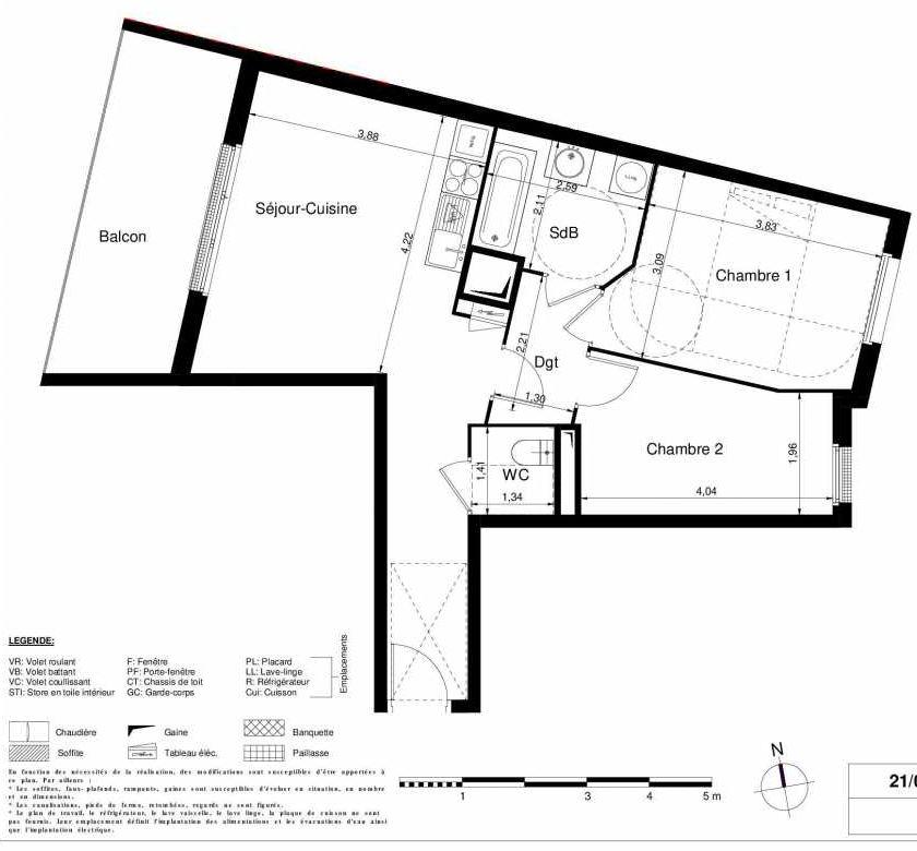 Plan 1208, appartement neuf type T3 au 2ème étage, orienté Ouest faisant 57m² du programme neuf LES JARDINS D'ARGELIES BÂTIMENT 1 ET 2 à Juvisy-sur-Orge.