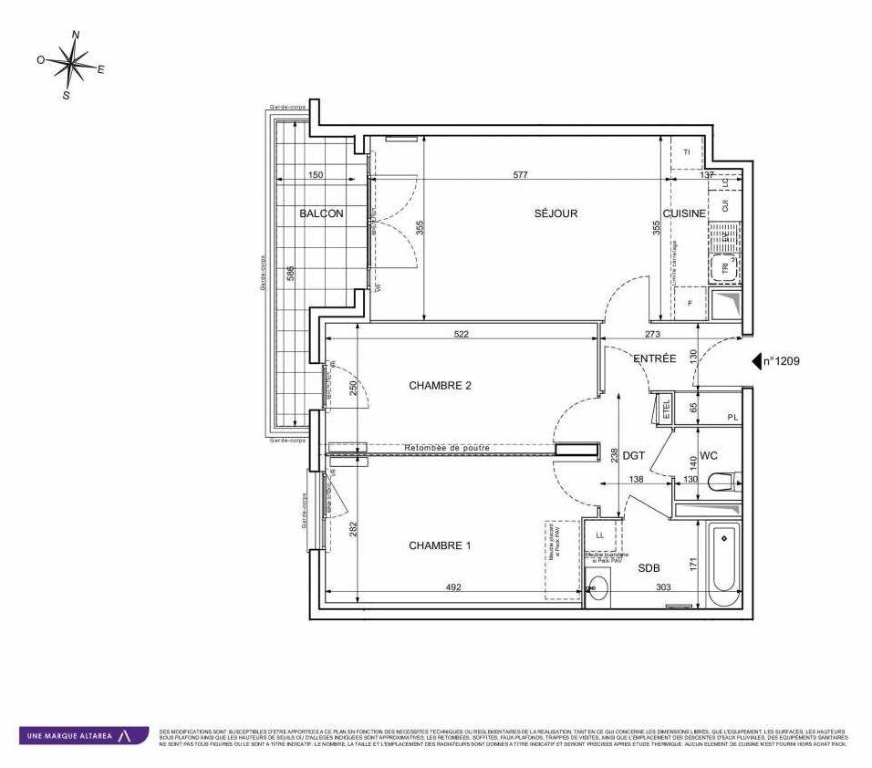 Plan 1209, appartement neuf type T3 au 2ème étage, orienté Sud faisant 66m² du programme neuf 18 RUE CHARLES MARTIGNY à Maisons-Alfort.