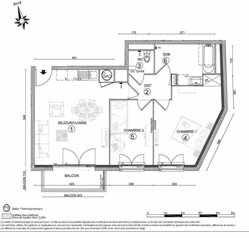 Plan 1209, appartement neuf type T3 au 2ème étage, orienté Sud faisant 60m² du programme neuf LE CLOS DU VAL A OSNY 55 LOTS à Osny.