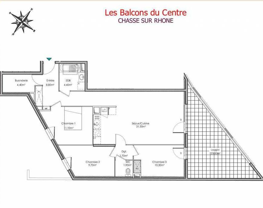 Plan recadré Les Balcons du Centre