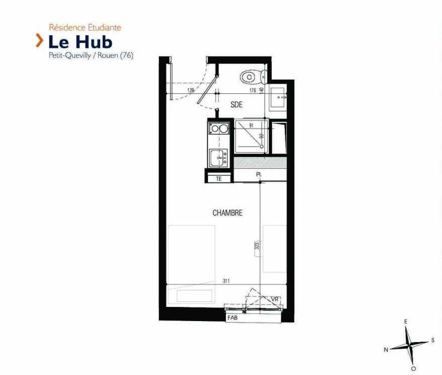 Plan 121, appartement neuf type T1 au 1er étage, faisant 18m² du programme neuf Le Hub à Le Petit-Quevilly.