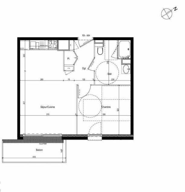 Plan 121, appartement neuf type T2 au 1er étage, faisant 43m² du programme neuf Les Boréales à Rouen.