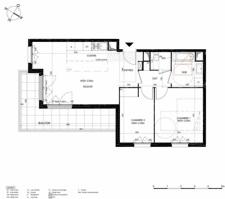 Plan 121, appartement neuf type T3 au 2ème étage, orienté Sud faisant 65m² du programme neuf LES JARDINS BALZAC BAT 3 à Argenteuil.