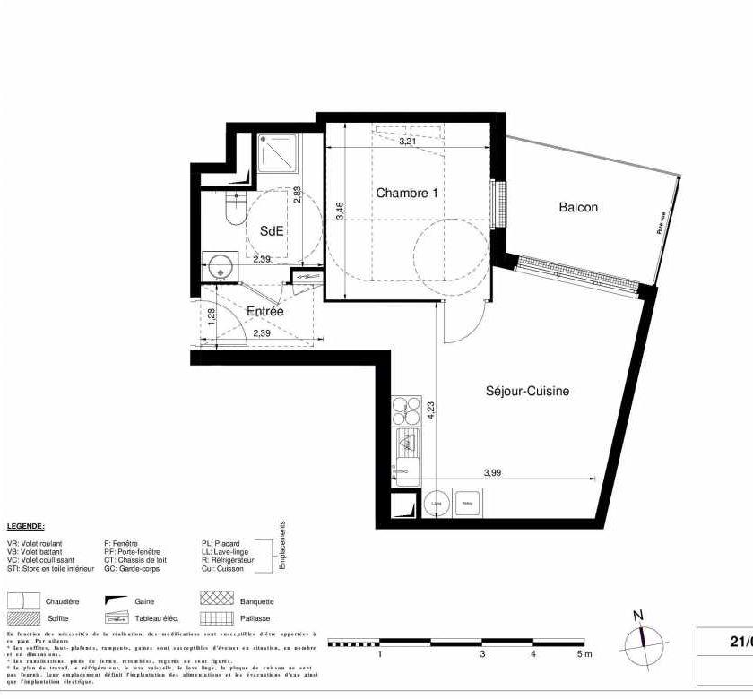 Plan 1210, appartement neuf type T2 au 2ème étage, orienté Nord faisant 41m² du programme neuf LES JARDINS D'ARGELIES BÂTIMENT 1 ET 2 à Juvisy-sur-Orge.